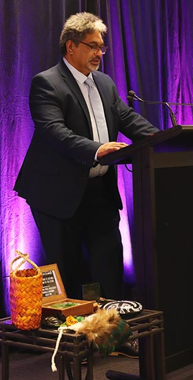 Kaumātua Keelan Ransfield officiates at the opening of the first virtual Indigenous Nurses Aotearoa Conference in November.