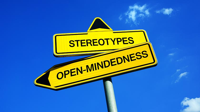 Road signs pointing to stereotypes and openmindedness. PHOTO: ADOBE STOCK