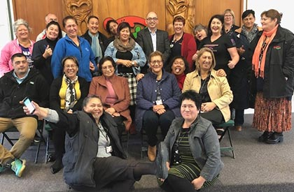 Ngāti Hine Health Trust staff celebrate their new site collective agreement.