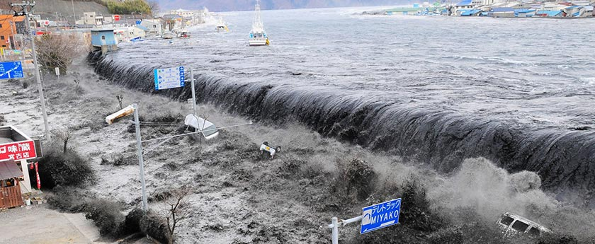 The catastrophic tsunami which followed the March 2011 earthquake in Japan.