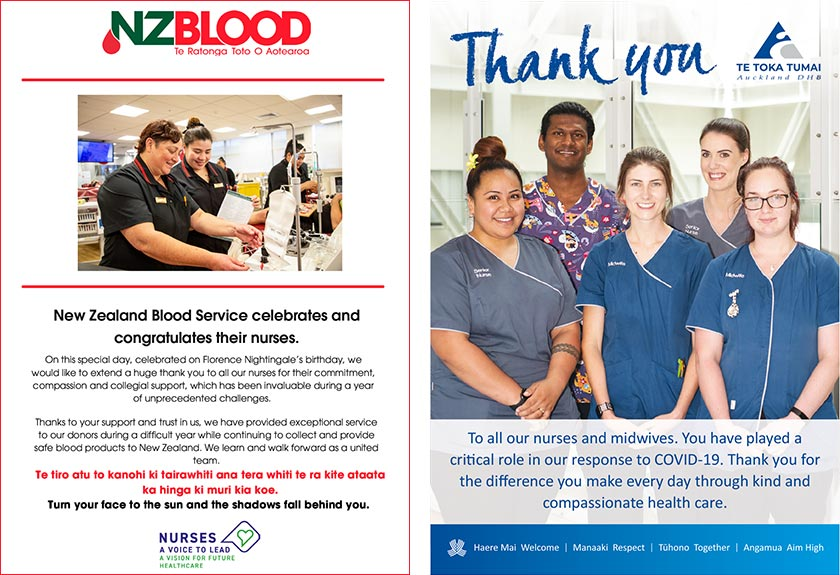 New Zealand Blood Service celebrates and congratulates their nurses. Auckland DHB says thank you to all our nurses and midwives.