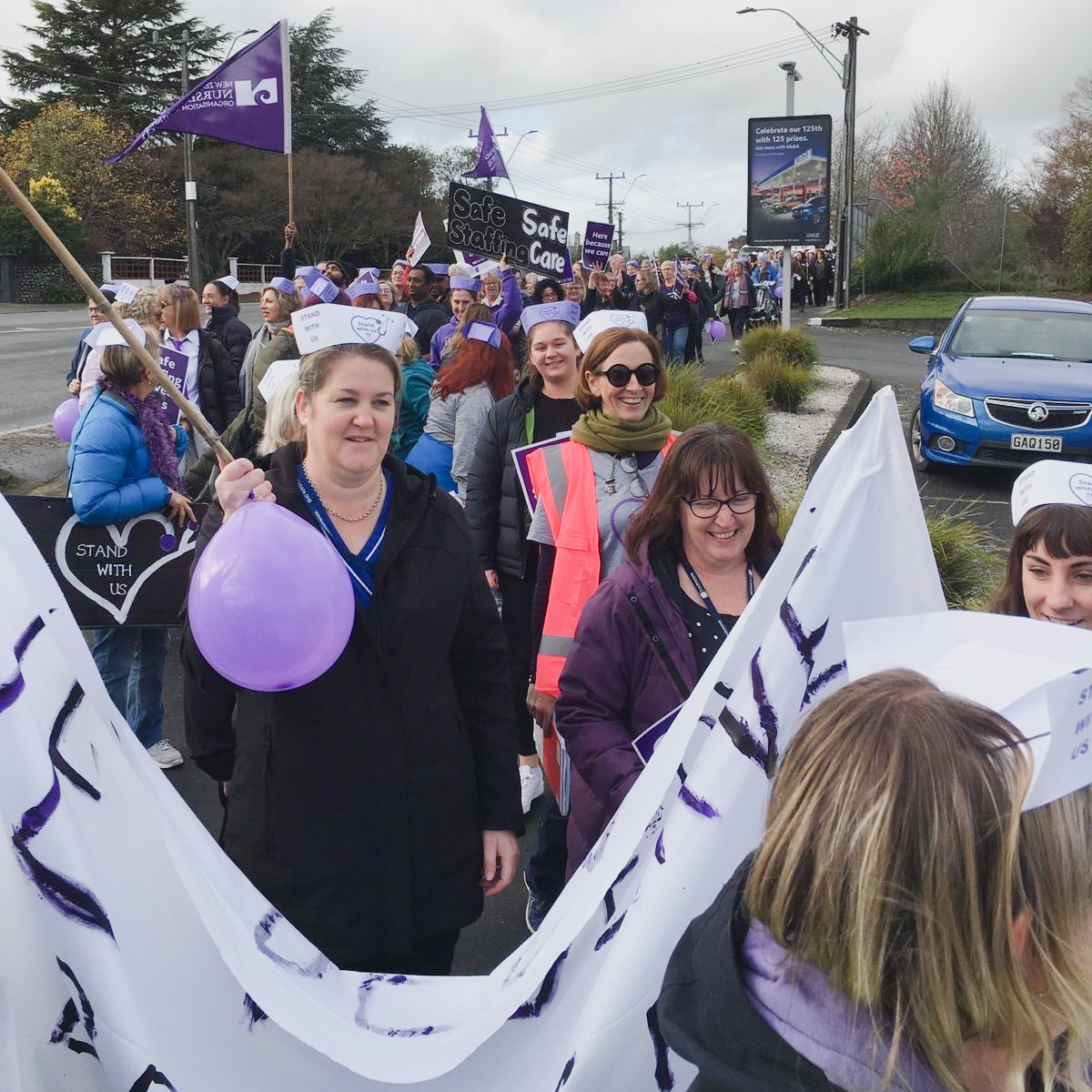 Large group of nurse protesters in Masterton