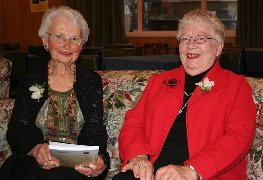 Nan Kinross (right) with Norma Chick at the 2006 launch of their book, Chalk and Cheese