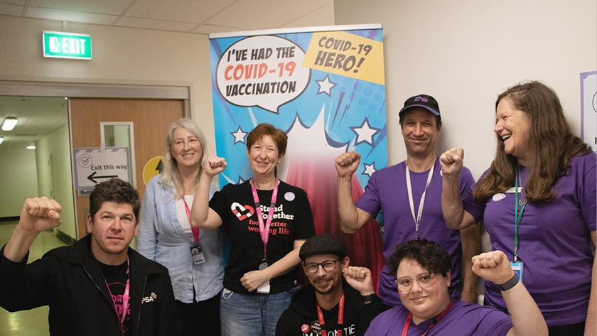 NZNO organiser Justine Sachs (front, far right) with NZNO and PSA organisers post-jab