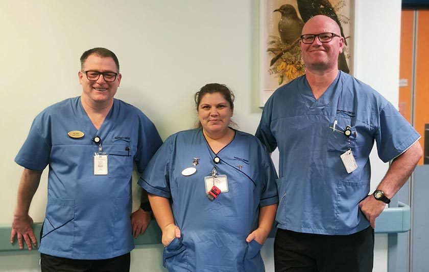 Southland Hospital LPS workers Alan Thornton, Pearl Silk and Boyd Frame