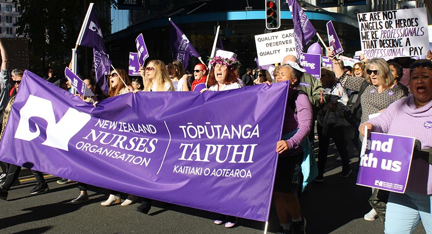 Nurses marching in the streets