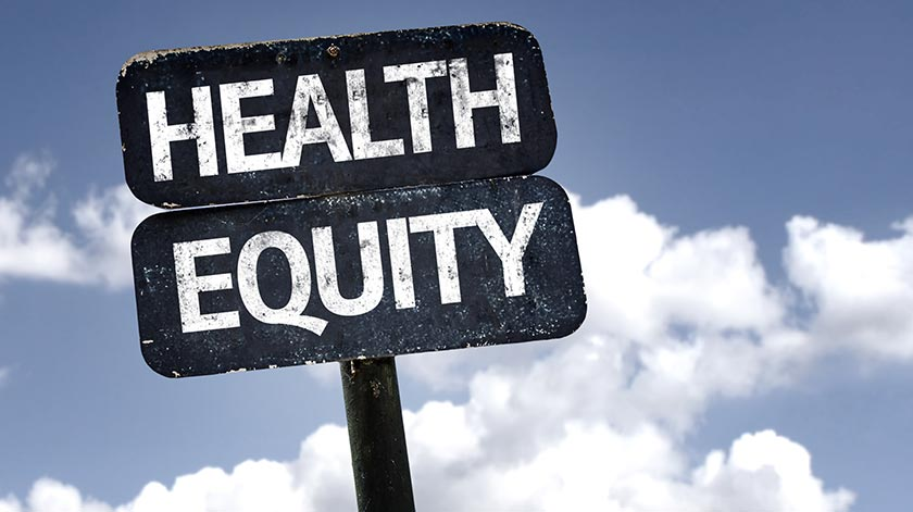 Road sign reading 'Health equity'. PHOTO: ADOBE STOCK.