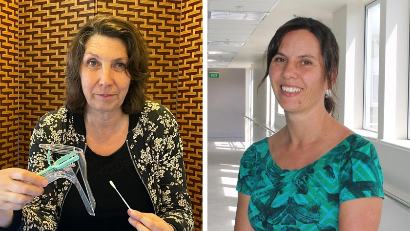 Jane Grant with a speculum vs an HPV swab; and Georgina McPherson