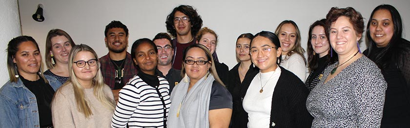 NZNO students in Wellington last month, to share their research with schools, with co-leaders Kimmel Manning (rear, centre), and Mikaela Hellier (second from right).