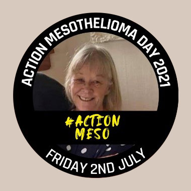 """Donna Thomas encircled by a frame that says """"Action Mesothelioma Day 2021 – Friday 2nd July #actionmeso"""""""