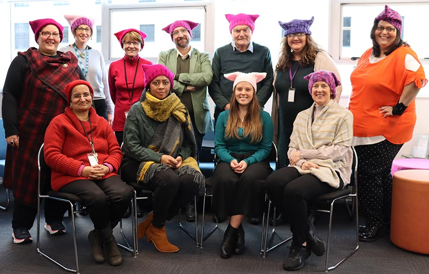 NZNO staff at the Wellington office wearing colourful knitted hats
