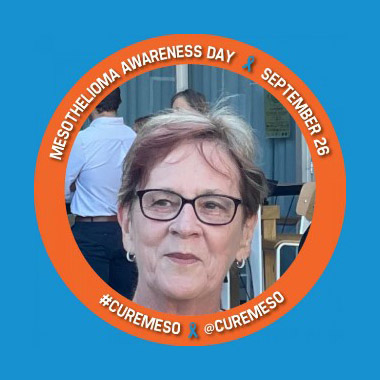 """Leonie Metcalfe encircled by a frame that says """"Mesothelioma Awareness Day – September 26 – #curemeso @curemeso"""""""