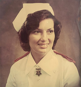 Margaret Cain as a new graduate in 1975. She had just completed hospital training at Auckland's Greenlane Hospital, where she also held her first job.