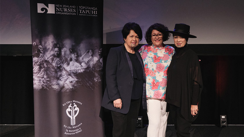 Kerri Nuku, centre, at the Indigenous Nurses Aotearoa Conference 2021 with, left, Ripeka Evans and Donna Awatere Huata.