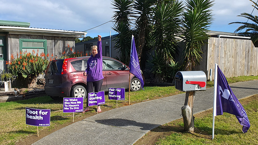 Barbara Drake, of Dargaville, joins NZNO's Go Purple day instead of striking on August 19